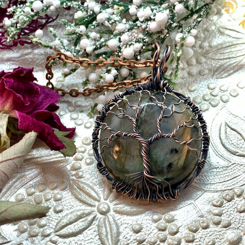 Labradorite Tree of Life in copper
