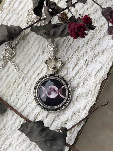 Tri-Moon Pocketwatch Style Necklace