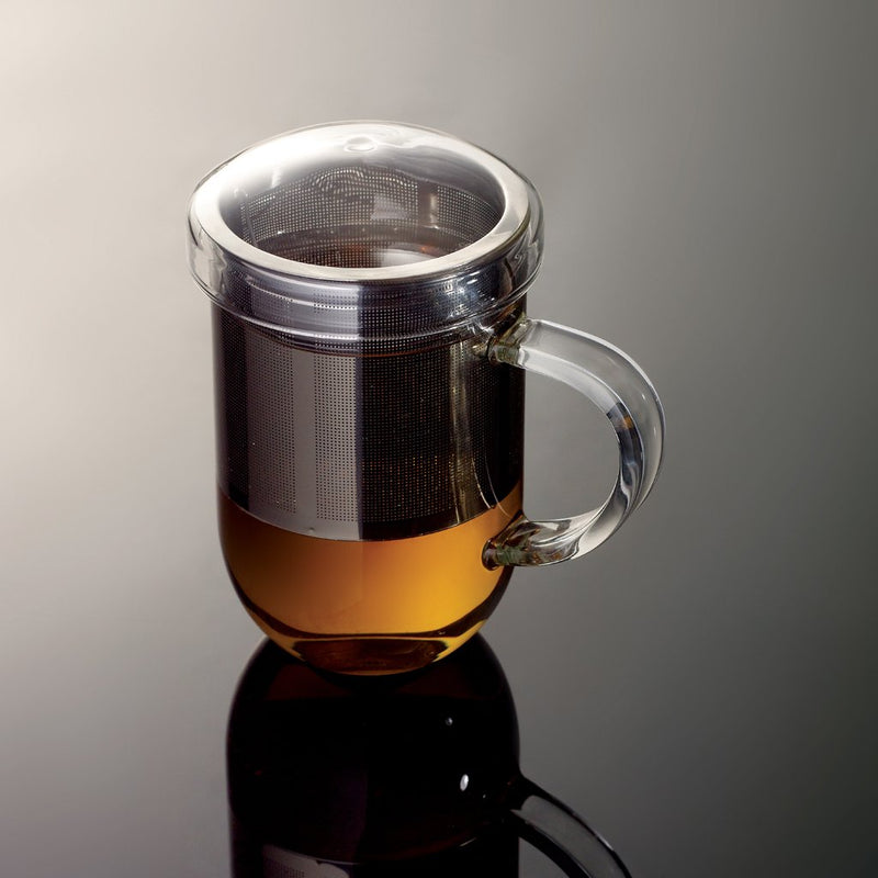 Pro Tea 15oz / 450ml Glass Mug with Infuser & Lid