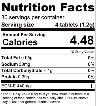 A table of nutrition facts for Bijun hyaluronic acid supplement tablets.