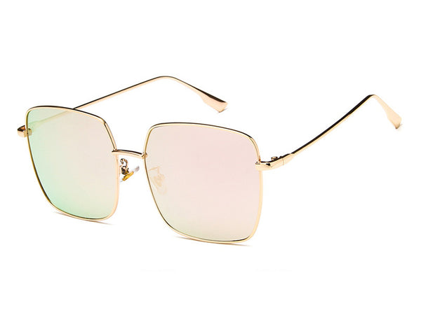 Metal Large Square Sunglasses
