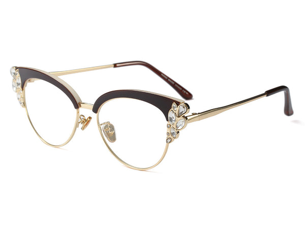 Stylish Crystal Cat Eye Glasses