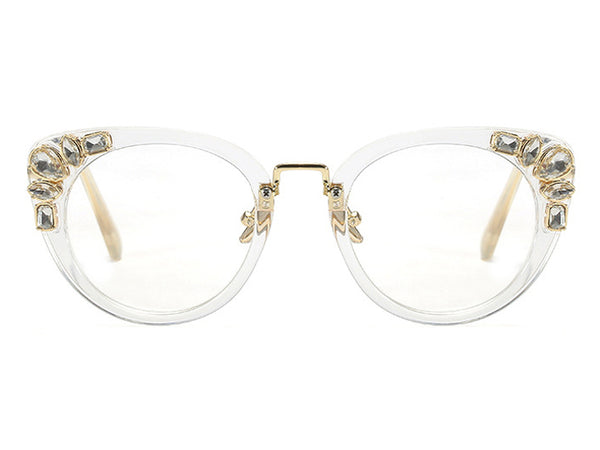 Rhinestone Full Rim Cat Eye Glasses