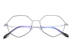 Titanium Black Silver Irregular Glasses