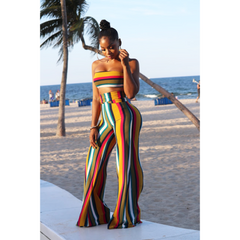 Sunset Stripe Palazzo Pant Set - Sets