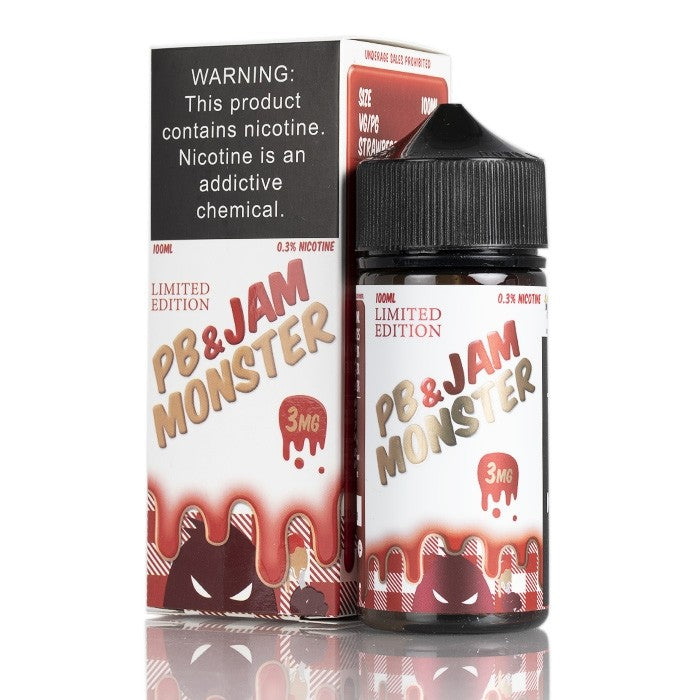 Jam Monster Nicotine E-Liquid - 100ml - PB & Jam Monster Strawberry