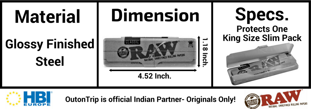 RAW CLASSIC KING SIZE TIN ROLLING PAPER CONTAINER