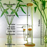 15 Inch High Straight Tube Tree Percolator Bong
