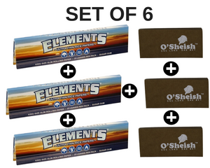 Elements Rice Rolling paper + O'Sheish Brown Filter Tips - Set of 6 - Outontrip
