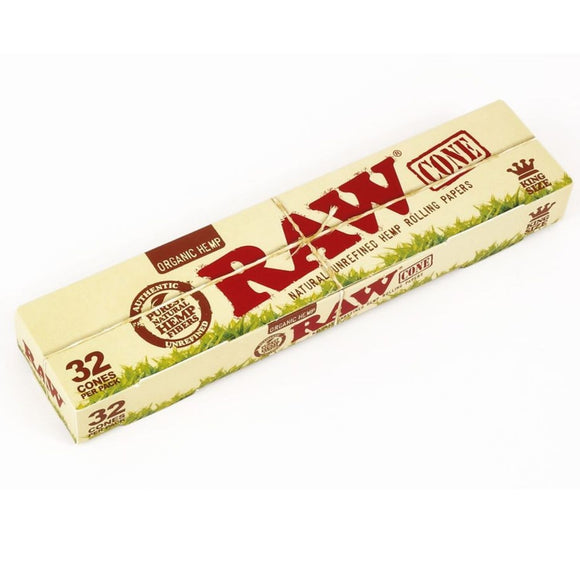 RAW Organic Prerolled Cones King Size -  32 Cones
