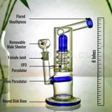 8 Inch Upright Bubbler with UFO and Inline Percolator