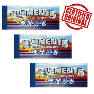 Elements wide rolling paper filter tips/roach pack of 3 or 5