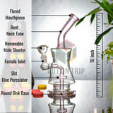 10 Inch Bent Neck Bong with Slit Percolator