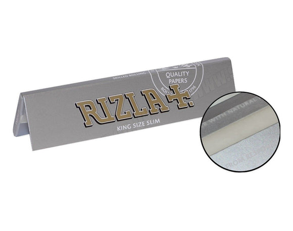 ORIGINAL RIZLA SILVER KING SIZE SLIM 32 LEAVES ROLLING PAPERS