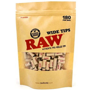 RAW Prerolled Wide Filter Tips - 180 Tips