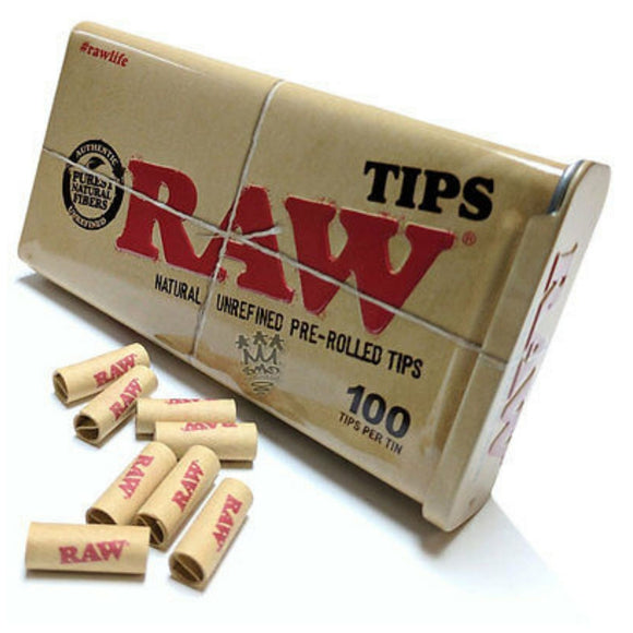 RAW Prerolled Filter Tips in Slider Box - 100 Tips