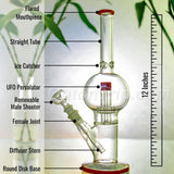 12 Inch Straight Tube Bulb Bong with UFO Percolator