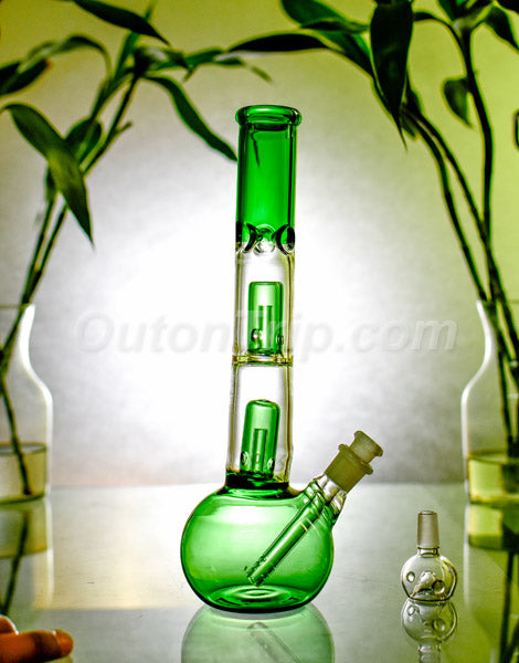 12 Inch Straight Tube Bulb Bong with Double UFO Percolator