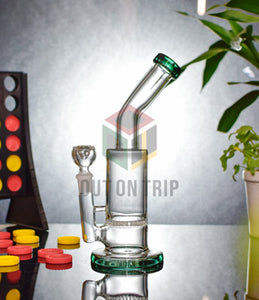 10 Inch Bent Neck Glass Bong with Honeycomb Percolator