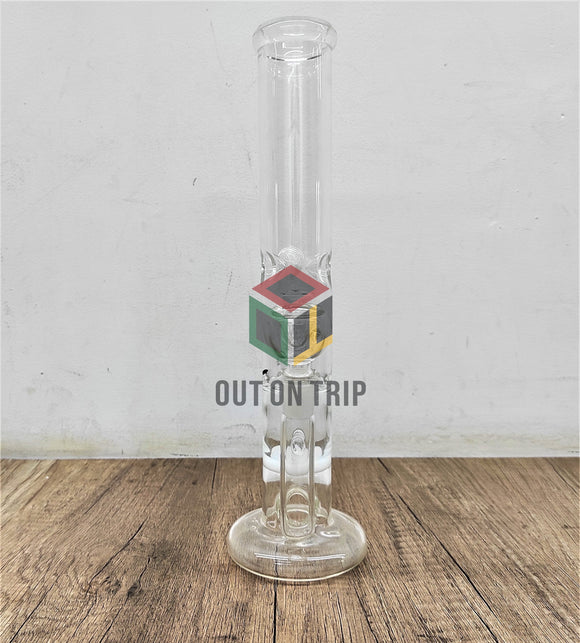 12 Inch Straight Tube Ice Catcher Bong with UFO & Honeycomb Percolator