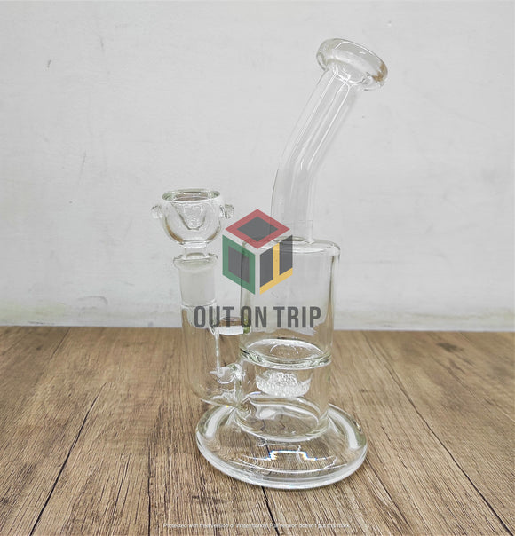 8 Inch Bong with Bent Neck and Honeycomb Percolator