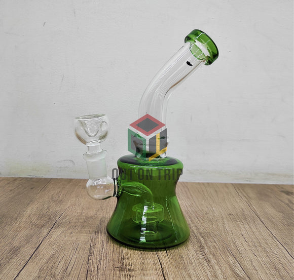 7 Inch Bent Neck Can Bong with Slit Percolator