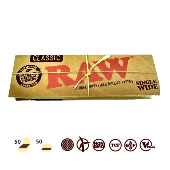 RAW SINGLE WIDE 50 LEAVES ROLLING PAPER