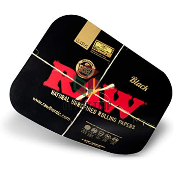 RAW Black Metal Rolling Tray Magnetic Cover - Large