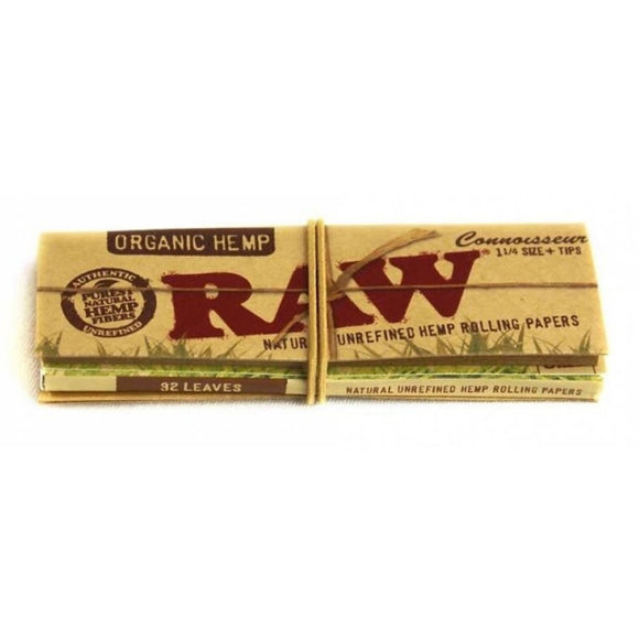 RAW Organic Connoisseur - 1 1/4 Size Rolling Papers with Tips