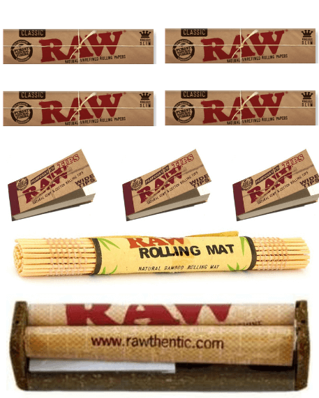 OutonTrip RAW Classic King Size Slim Combo Includes: 2 Packs Of RAW Classic King Size Slim Rolling Paper, 2  RAW wide perforated Tips, RAW 110MM Roller and  Raw bamboo rolling matt