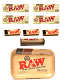 OutonTrip RAW Rolling Tray Combo Includes Large size Tray, Raw Single Wide Rolling Papers, 79mm Rolling Machine, Regular Tips and INCLUDES - OutonTrip Paper Astray Box