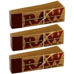 RAW ROLLING paper FILTER TIPS/ROACH Pack Of 3 or 5