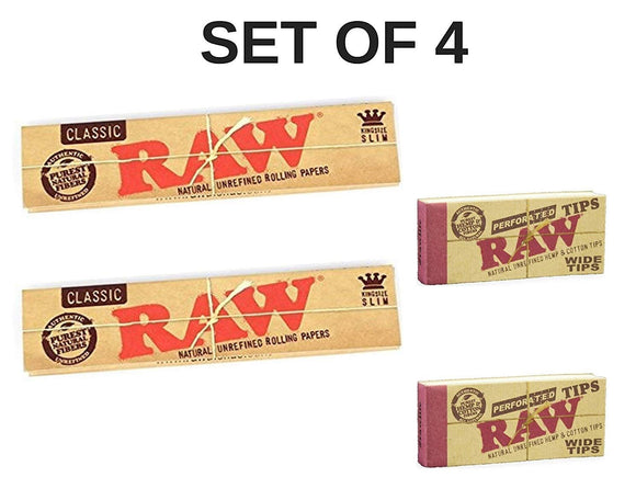 RAW Classic Rolling Paper with RAW Wide Perforated Tips - Set of 4