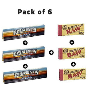 Elements Rolling Paper with RAW Wide Perforated Tips - Set of 6