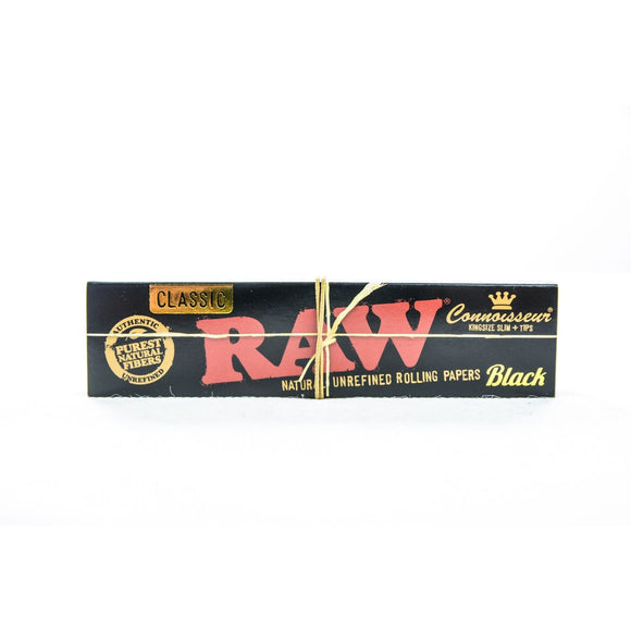 RAW Black Connoisseur - Rolling Paper with Tips