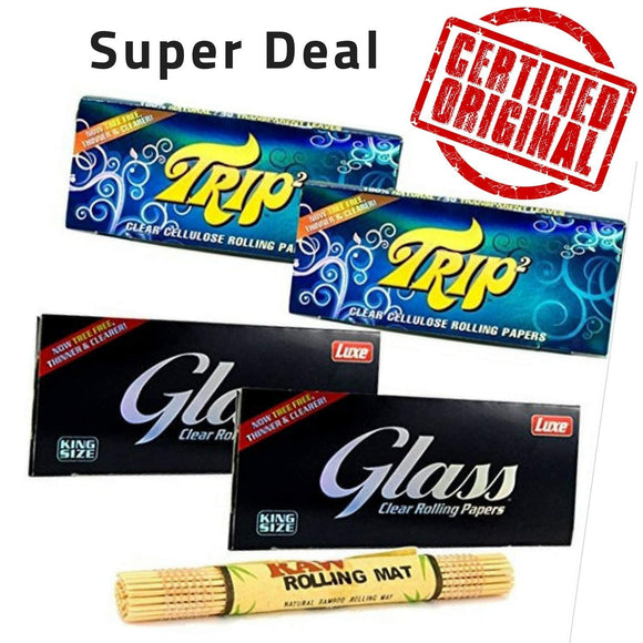 Luxe Glass and Trip2 Rolling Paper with RAW Rolling Mat - Set of 5