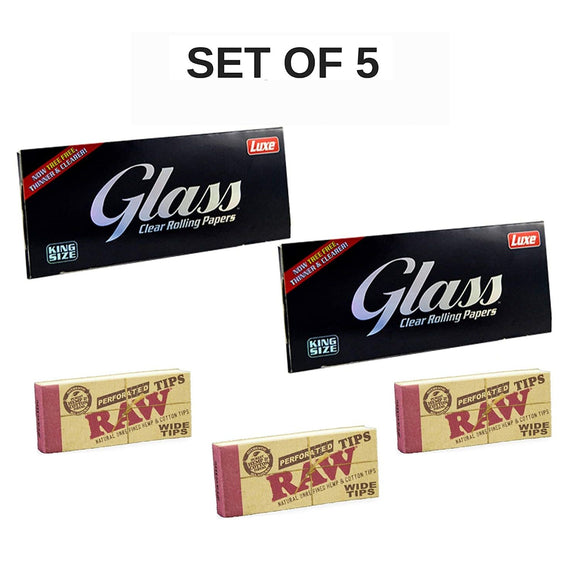 Luxe Glass Rolling Paper with RAW Wide Tips - Set of 5