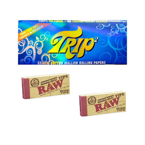 Trip2 Rolling Paper with RAW Wide Tips - Set of 3