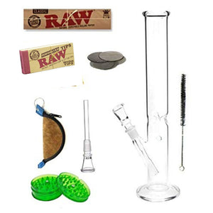 OutonTrip 12 Inch Straight Tube Bong Combo (Includes 6 Premium smoking Accessories)