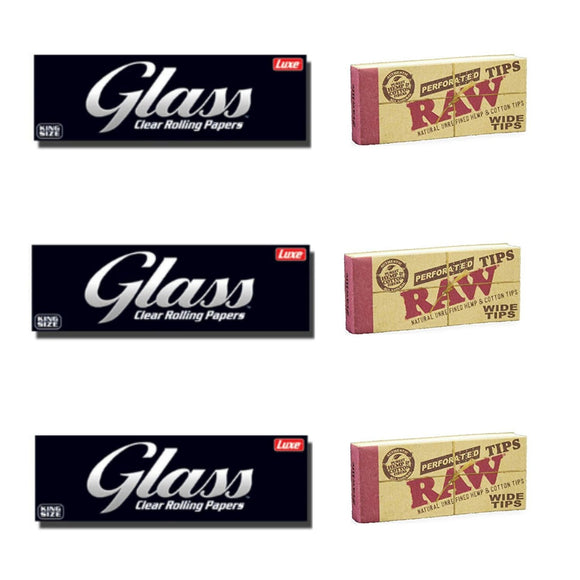 3 Luxe Glass Clear Rolling Papers + 3 RAW Wide Perforated Tips/Roach - Set Of 6