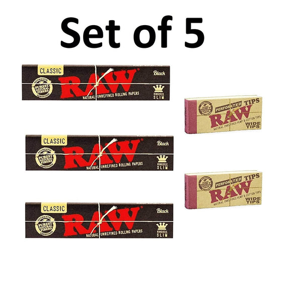 RAW Black Rolling Paper with RAW Wide Perforated Tips - Set of 5