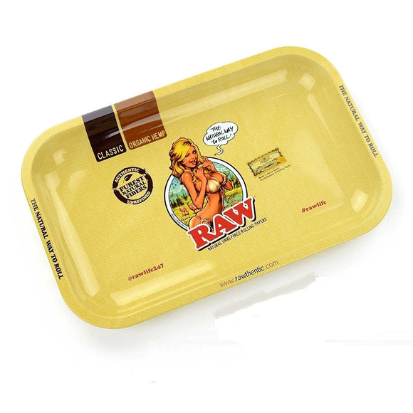 RAW Girl Metal Rolling Tray with Magnetic Tray Cover - Small