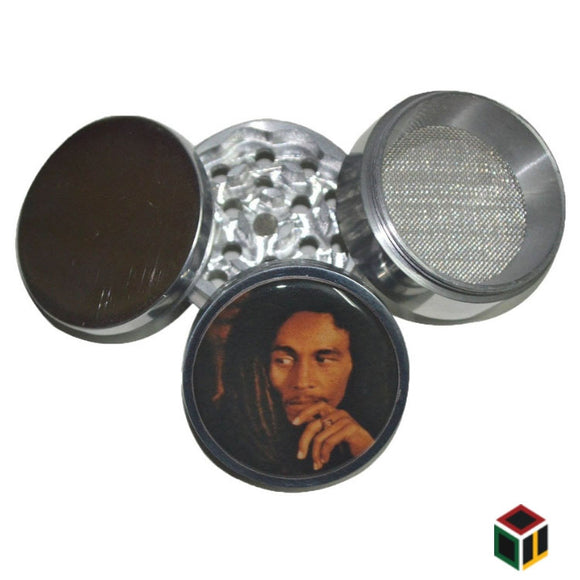 Bob Marley Metallic Herb Crusher/Grinder with Filter (50 MM)