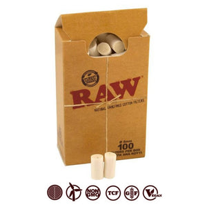RAW COTTON FILTER BOX (100 Filter Tips)