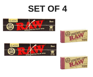 RAW Black Rolling Paper with RAW Wide Perforated Tips - Set of 4