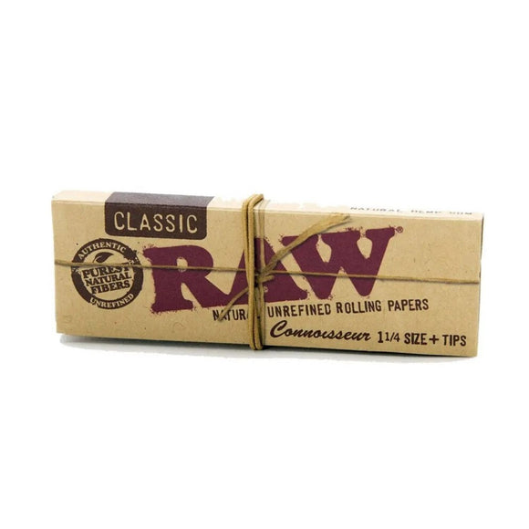 RAW Classic Connoisseur - 1 1/4 Size Rolling Papers with Tips
