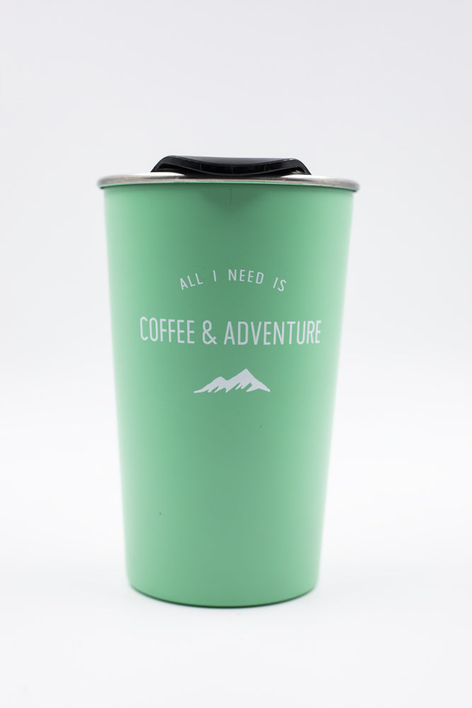 """All I Need Is Coffee & Adventure"" - Kaffeebecher to go / mint"