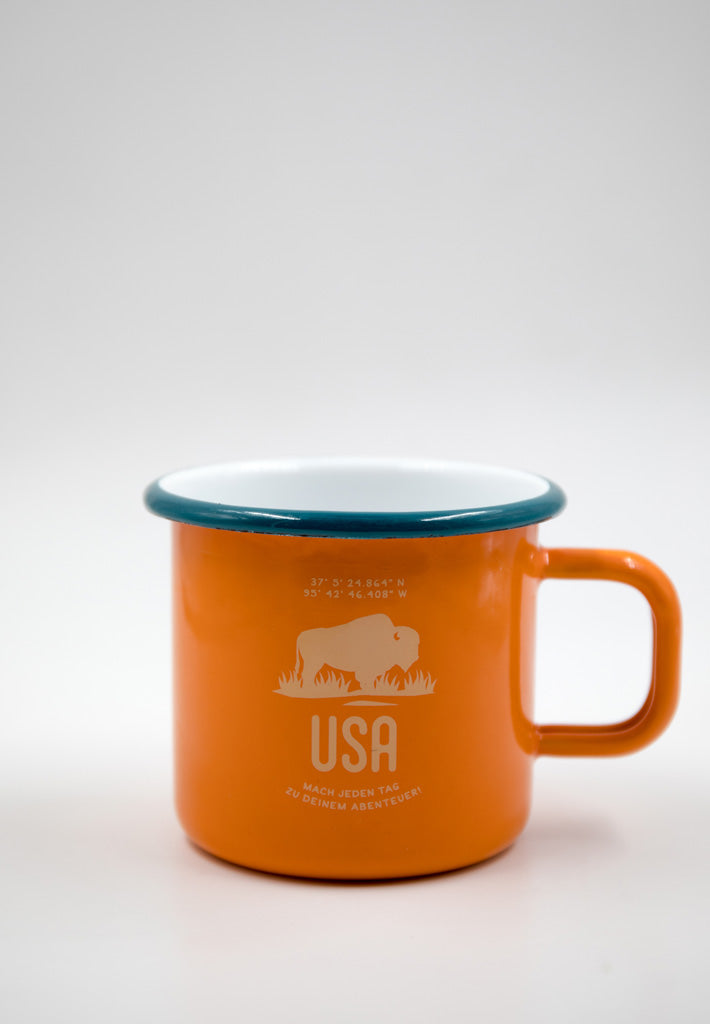 Emailletasse USA / orange
