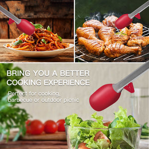ZKT2 Non-stick Stainless Steel Kitchen Tong Set - Red