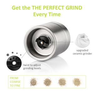 Zanmini ZSG02 Stainless Steel Salt And Pepper Grinder Set 2 In 1 Mill - Stainless Steel
